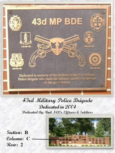 The Memorial Day Foundation - 43RD MILITARY POLICE BRIGADE MEMORIAL