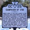 CAMPAIGN OF 1781 REVOLUTIONARY MEMORIAL MARKER